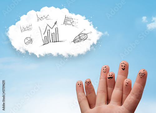 Happy smiley fingers looking at cloud with hand drawn charts