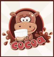 Hippopotamus with cocoa drink