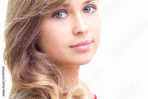 cute girl with beautiful hair and make-up