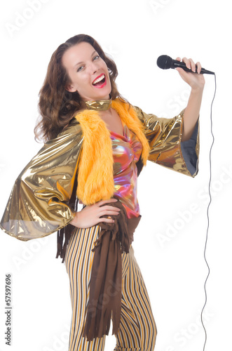 Woman in spanish clothing with mic