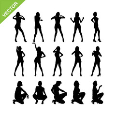 Sexy lady and dancing silhouettes vector set 8
