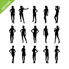Sexy lady silhouettes vector set 3