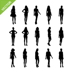 Sexy lady silhouettes vector set 6