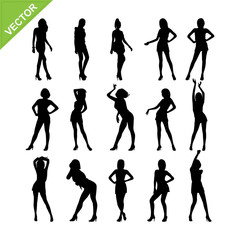 Sexy lady silhouettes vector set 7