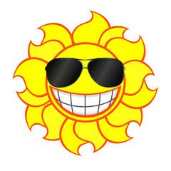 Cheerful smiling sun wearing sunglasses