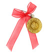 Turkish traditional gold coin with red ribbon. ( Half gold )