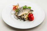 Roasted sea bass with white and wild rice