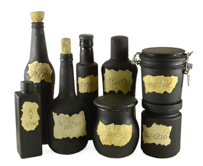 Black bottles group isolated