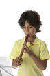 Little boy is playing the recorder