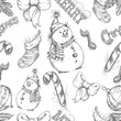 christmas seamless sketch doodles pattern