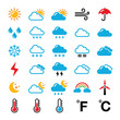 Weather forecast colorful vector icons set