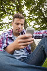 Handsome serious student sitting on grass texting