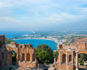 Ancient greek amphitheatre in Taormina city, Italy