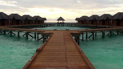 Tourist bungalows on the water. Maldives