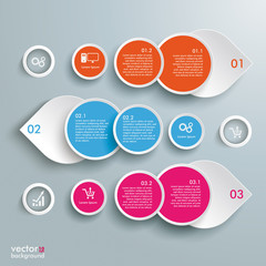 Three Colored Drops Batched Circles Infographic