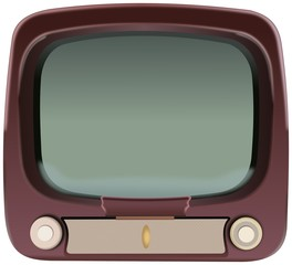 Front view of old television with rotary knobs