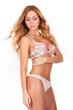 Beautiful brunette model in seductive lingerie