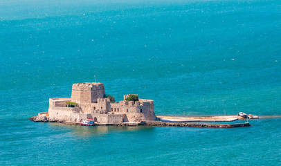 Aerial view of the Bourtzi fortress in Nafplion, Greece