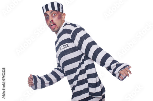 Prisoner with bad bruises on white