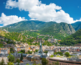 Fototapety Andorra la Vella under puffy clouds, Andorra