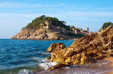 Medieval castle in Tossa de Mar at sunrise, Costa Brava, Spain