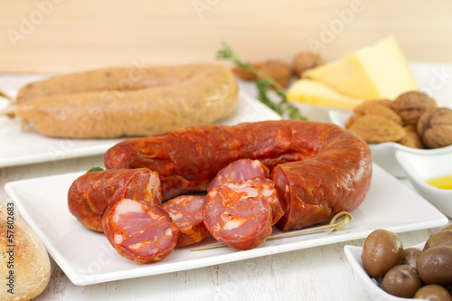 chorizo on dish with cheese and olives