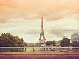 retro photo with paris, france, vintage
