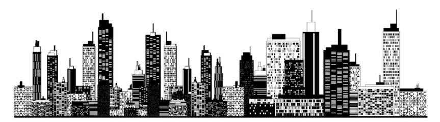 A black and white illustration of city skyline.