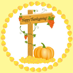 Wooden arrow with grapes and pumpkins Thanksgiving