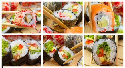 Sushi roll  collage