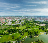 Aerial view of Olympiapark . Munich, Bavaria, Germany