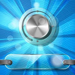 Chrome volume knob with transparency plate and rays on the blue