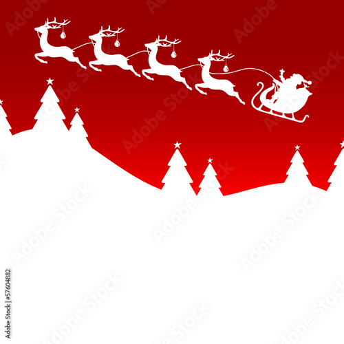 Christmas Card Sleigh Silent Night Red