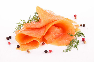 isolated slice of salmon