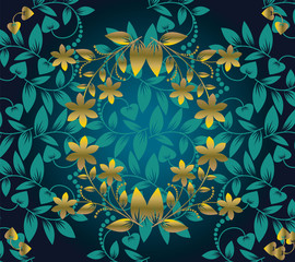floral pattern seamless on green background with  golden flower