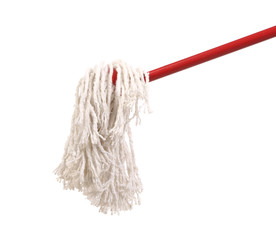 Closeup of red mop for cleaning.