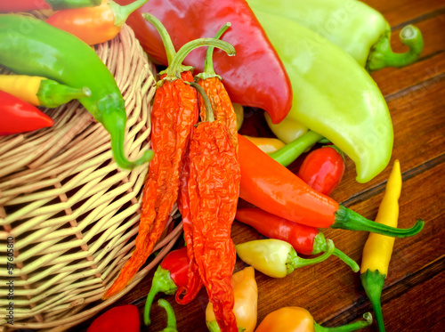 Dried and fresh peppers (multicolored peppers)
