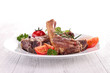 grilled lamb chop and vegetables