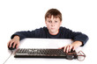 portrait of a teenager with a keyboard