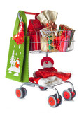 Shopping cart full of Christmas gifts