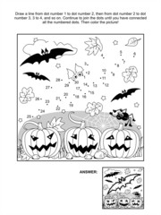 Dot-to-dot and coloring page - Halloween bat