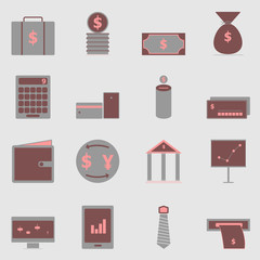 Business color icons on gray background