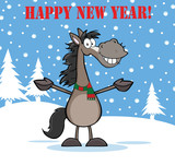 Happy New Year Greeting With Grey Horse Over Winter Landscape