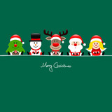 Tree, Snowman, Rudolph, Santa & Angel Gift Green