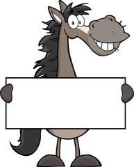 Grey Horse Cartoon Mascot Character Holding A Banner