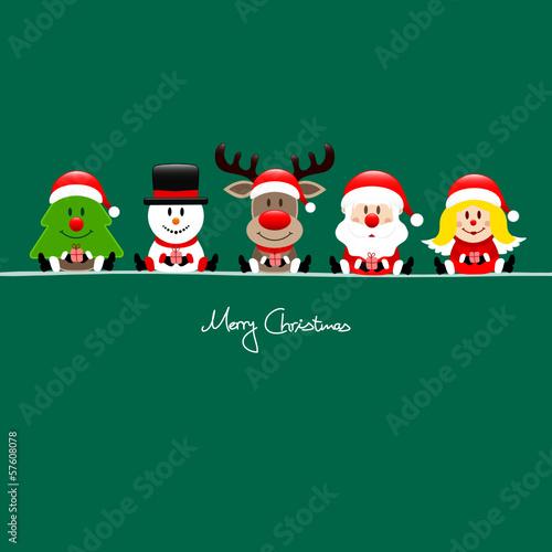 Tree, Snowman, Rudolph, Santa & Angel Gift Green