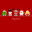 Tree, Snowman, Rudolph, Santa & Angel Gift Red