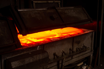 hot iron in furnace