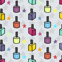 Cartoon Nail varnish Seamless background