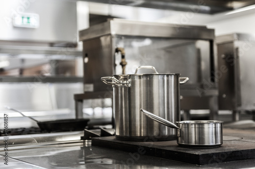 Pots standing on hotplate
